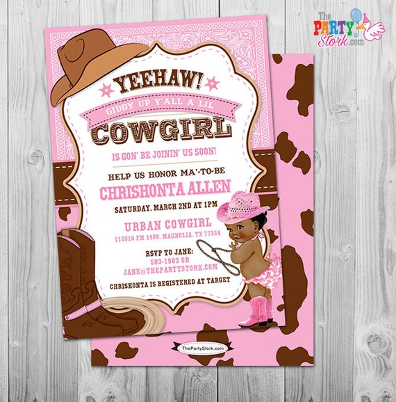 Cowgirl Baby Shower Invitation African American Baby Shower