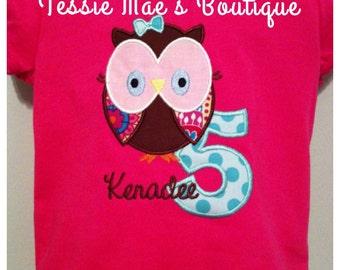 Owl Birthday Shirt, Owl Applique Shirt, Personalized Owl Shirt