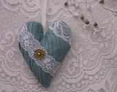 FEMININE HEART ---- Lace Fabric Heart ----- Embellished Stuffed Heart----