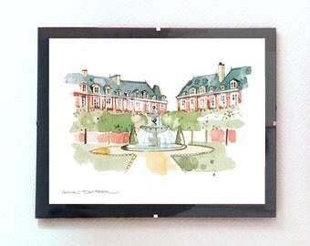 Print of Paris, Place des Vosges, Landscape, Wall art, Home decoration, painting, Paris, City art, Park, Illustration, Watercolour, Marais