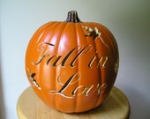 Fall in Love Carved Decorative Wedding Pumpkin