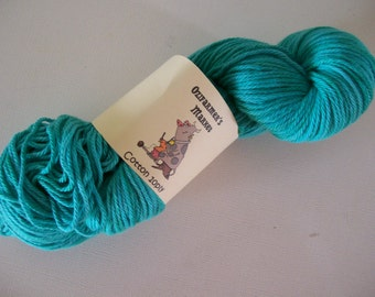 Hand Dyed 10ply/Worsted weight green cotton.  100gm-  Grass