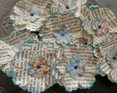 PAPER FLOWERS Set/4 Book Text Vintage Map Repurposed 7 Layers Black White Blue