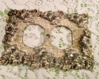 Vintage Ornate Silver Flowered Outlet Plate