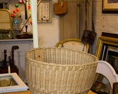 Vintage Wicker Basket, long handle, wheels, 1960's, super trolley, carry basket, home storage