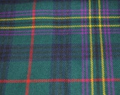 Kennedy Modern Tartan Fabric. 100% 10oz Pure New Wool. Large Remnant Piece.