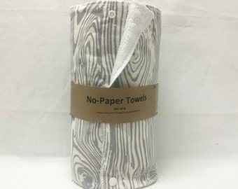 Unpaper towels, reusable paper towels, cloth paper towels, snapping paper towels - Wood Grain