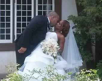 "Wedding veil with horse hair trim 2"" fingertip veil with crinoline trim 2' blusher veil 2 tiers 42 inch veil horse hair veil"