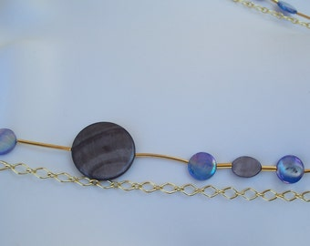 Double Strand Necklace Gray Blue Shells Gold Plated Chain High Fashion Jewelry Two Strands