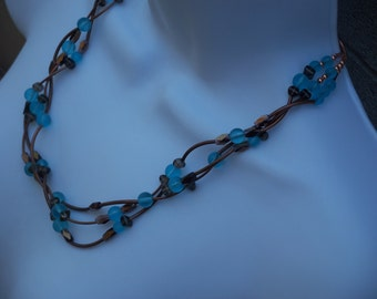 Necklace Brown Copper Aqua Blue Frosted Glass Beads Three Strands Multiple Strand Fashion Jewelry