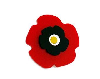 Poppy brooch, red flower jewelry, designer accessorie.