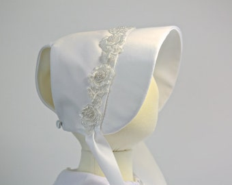 The Angeline Christening Baby Bonnet, Easter Bonnet, Baptism Bonnet
