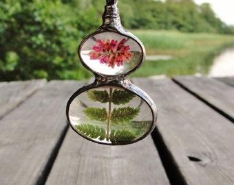 Forest Heather FERN Necklace, Terrarium Dry Flower Jewelry, Statement Necklace, Woodland Pendant, Boho, Gify, Herbarium Jewellery, BUSTANI