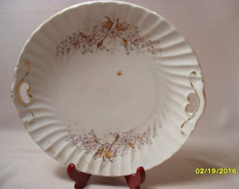 Beautiful Vintage Floral Handled Hutch Plate