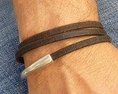 Vegan Leather Mens Bracelet, Portuguese Cork Leather Wrap Bracelet, Brown Cuff Bracelet, Magnetic Clasp Bracelet, Vegan Jewelry Gift for Him