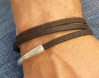 Brown Vegan Leather and Silver Wrap Bracelet, Eco Friendly Jewelry for Men, Magnetic Clasp Bracelet, Vegan Jewelry, Wrap Bracelet