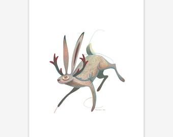 Jackalope Mythical Creature Print A5