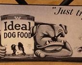 Antique English Bulldog Dog Food Ad Print Decoupaged on Wood