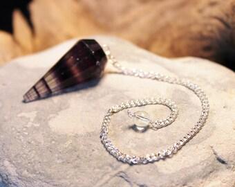 Reiki Attuned Purple Flourite Pendulum or Necklace 1