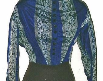 ON SALE Civil War Royal Blue Warp Print Silk Bodice