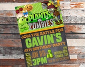 Plants VS Zombies. Plants VS Zombies invitation. Plants VS Zombies Party. Plants vs Zombies Birthday. Zombie Invitation. Plant vs zombies