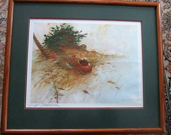 Pheasant Waterfowl Game Bird Print Signed by Artist L W Schifferl Listed Artist Vintage Bird Print Professionally Framed Ready to Hang