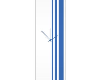 Large Modern Clock 'Blue Triple Stripe Clock' by Adam Schwoeppe - Wall Decor Minimalist Accent Piece on Acrylic