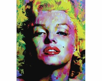 Pop Art 'Marilyn Monroe Relinquished Beauty' by Artist Mark Lewis, Colorful Painting Limited Edition Giclee Print on Metal or Acrylic