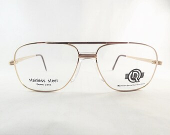 Mens Gold Aviator Eyeglasses, Metal Fixed Bridge Glasses, Flexible Temple Arms, Stainless Steel Glasses