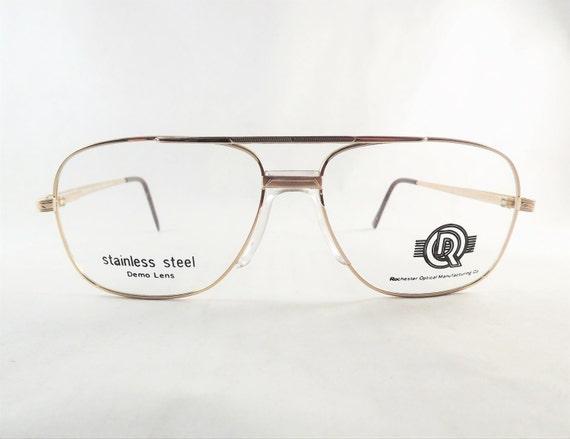 Can Eyeglasses Frames Be Fixed : Mens Gold Aviator Eyeglasses Metal Fixed Bridge Glasses