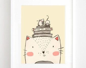 cat - Illustration Art Print, kids art, nursery decor, children's wall art, kids room decor.