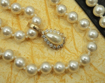 """Vintage ROMAN Enhancer & Glass Pearl Necklace - Teardrop Pearl / Rhinestone Enhancer - 18"""" Glass Bead / Pearl Necklace - Gold Plated 1  1/8"""""""