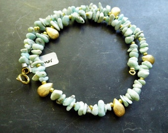 Chain, Larimar, turquoise, silver, gold, jewelry, Sterling Silver