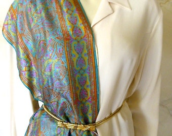 """Vintage Made in India Silk Oblong Scarf 70 by 10"""""""