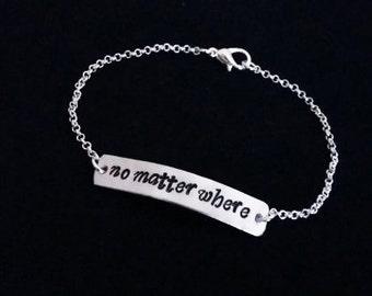 No matter where bracelet, no matter where charm bracelet, mother daughter, best friend bracelet, silver bracelet, no matter the distance