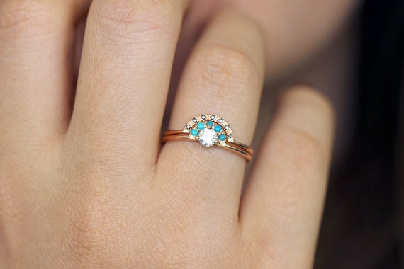turquoise wedding ring turquoise bridal wedding set gold wedding set 8124