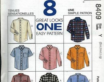 McCall's 8409 Men's Simple Shirt Pattern, 8 Great Looks, Size 34-44, UNCUT