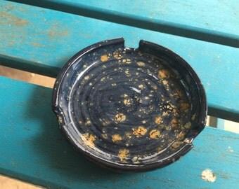 Tiny Midnight blue gold speckled small ashtray, ashtray, ceramic, pottery, dark blue and gold