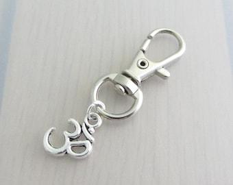 Silver Om Charm Purse Clip, Om Zipper Pull, Om Handbag Charm, Om Bag Charm, Yoga Bag Charm, Aum Bag Charm, Ohm Bag Charm