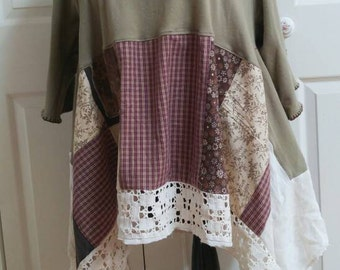 Loose flowing tunic lagenlook upcycle quirky plus size comfortable fall colors one of a kind