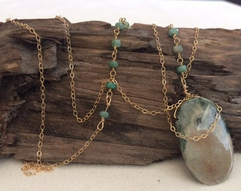 Long, Gold, Asymmetrical, Green, Beaded Chain Necklace