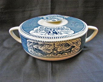 Currier and Ives, Royal China Casserole Dish with Lid Covered Vegetable Bowl Serving Bowl