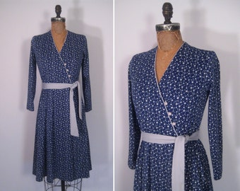 vintage 1970s blue flower print dress • 70s floral print dress • somewhere out of the day dress