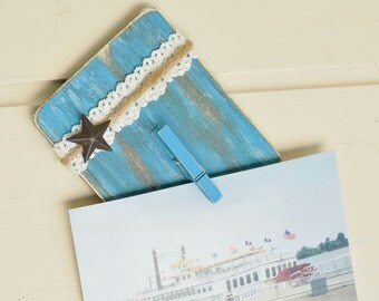 Photo Fridge Magnet Hand Painted Wood Refrigerator Magnets Turquoise Blue Beach Decor