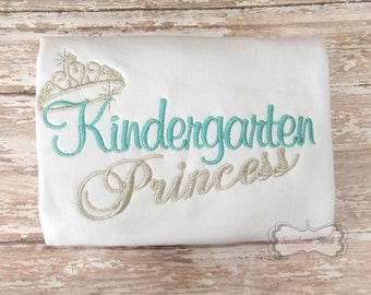 Kindergarten Princess Embroidered Shirt in Teal & Silver
