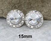 15mm Studs, Crystal and Silver Studs, Swarovski, Surrounds, Rhinestone Earrings, Large Studs, Bridal Studs, Handmade Studs, Wedding Earrings