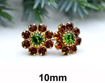 Brown Crystal Studs, Cluster Earrings, Smoked Topaz and Fern Green, Gold Studs, Swarovski, Flower Cluster, 10mm Studs, Rhinestone Earrings