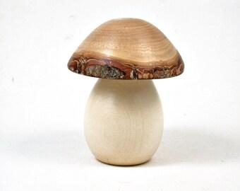LV-3315  Holly  and  Golden Rain Wooden Mushroom Keepsake Box, Pill, Jewelry Box-SCREW CAP