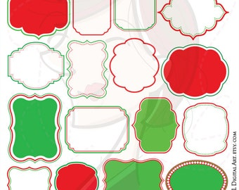 Christmas Digital Frames VECTOR Clipart Red Green Borders Graphics Commercial Personal Use DIY Card Transparent Middle Jpeg Png Images 10350