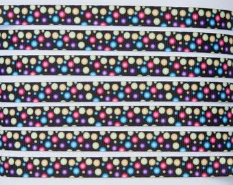 "10Yd Colorful Dots Printed Black 3/8"" Grosgrain Ribbon"